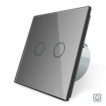 Сенсорная кнопка Импульсный выключатель Проходной диммер 2 канала Livolo серый стекло (VL-C702H-15)