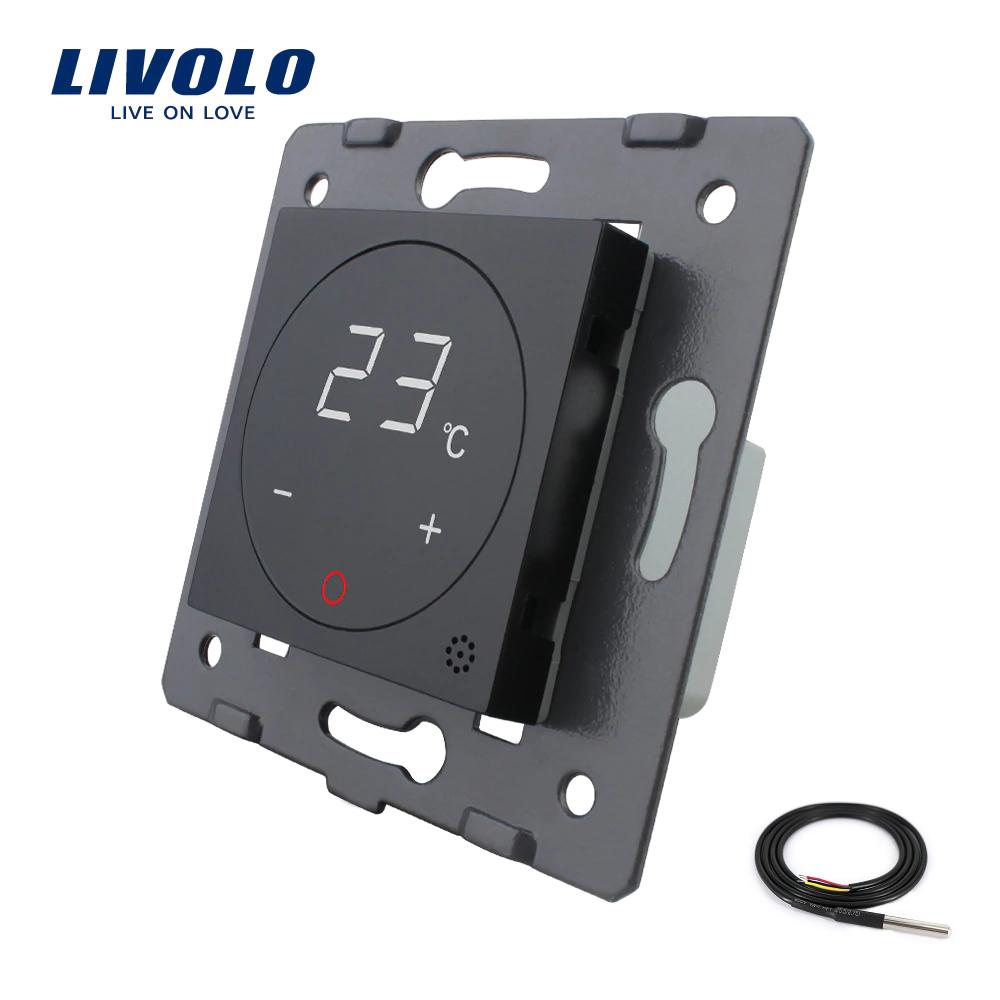 Механизм терморегулятор Livolo с датчиком температуры пола черный (VL-C7-01TM2-12)