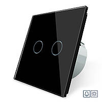 Сенсорна кнопка Сухий контакт 2 каналу Livolo чорний скло (VL-C702IH-12), фото 1