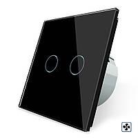 Сенсорный выключатель Livolo для ванной комнаты свет и вытяжка черный стекло (VL-C702-2IH-12), фото 1