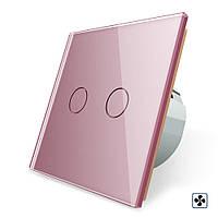 Сенсорный выключатель Livolo для ванной комнаты свет и вытяжка розовый стекло (VL-C702-2IH-17), фото 1