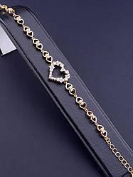 Браслет цепочка на руку позолота женский нежный украшен фианитами с сердцем из медицинского сплава Xuping