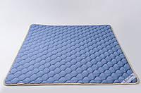Наматрасник из овечьей шерсти мериносов 200х200 см GoodnightStore Синий с белым В полоску + Антимолевый чехол