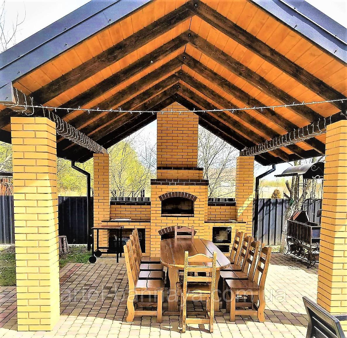 Садовая мебель из массива дерева 2500х1000 от производителя для дачи, кафе, комплект Furniture set - 21/2