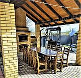 Садовая мебель из массива дерева 2500х1000 от производителя для дачи, кафе, комплект Furniture set - 21/2, фото 2