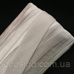 Трикотажная косая бейка (эластичная, стрейч) 3см х 30м (белая) (657-Л-0707)