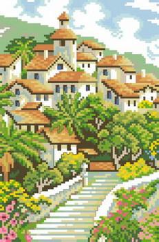 Схема на канве для вышивки крестиком А4 Городской пейзаж Ркан 4017