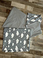 Постельное белье Тучки на сером, ранфорс Luх, разные размеры