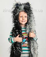 """Детская волкошапка """"Черно-серый волк"""""""