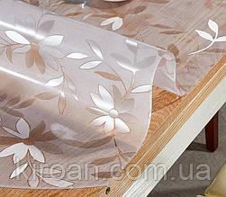 Плівка м'яке скло ПВХ силіконова на стіл, товщина 1,7 мм,преміум,ширина 80 см (прозорі квіти)
