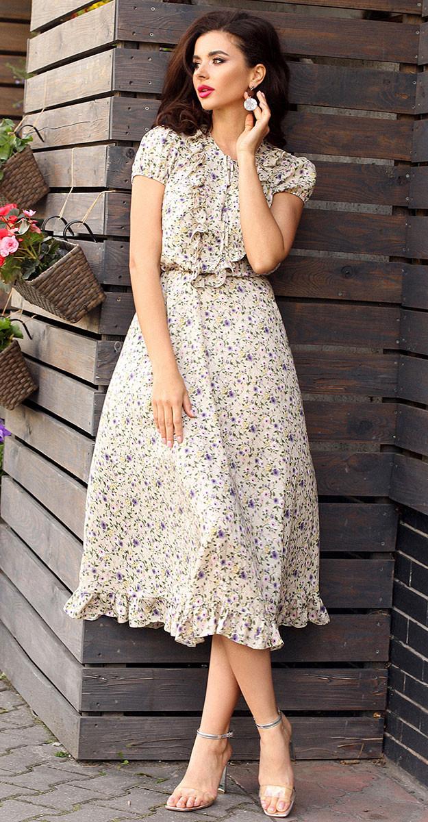 Платье Мода-Юрс-2562 белорусский трикотаж, беж, 48