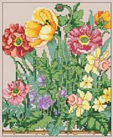 Схема на канве для вышивки нитками А4 Полевые цветы Ркан 4018
