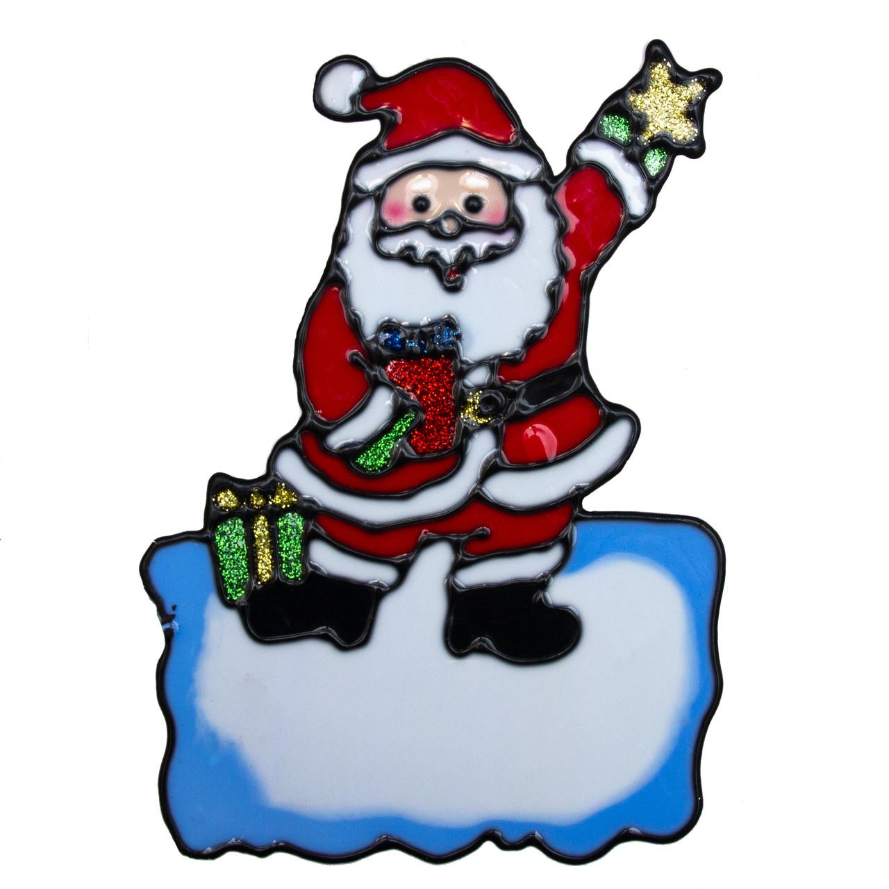 Новогодняя наклейка на окно, 14*19см, Дед Мороз на снегу, (000548-8)