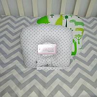 Ортопедическая антиалергенная подушка для младенцев Зеленые дракончики 22 х 26 см (188)