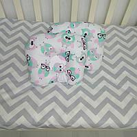 Детская антиалергенная ортопедическая подушка для новорожденных Мятные Совушки Т.М.Миля 22 х 26 см (194)
