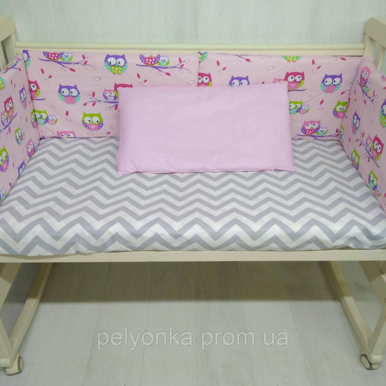 Бортики в детскую кроватку Т.М.Миля Розовые совушки 60см х 35 см в комплекте 6 шт. (507)