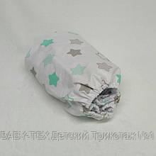 Простынь на резинке в детскую коляску Миля хлопоковая Мятные звезды 60 х 120 см (0260)