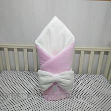 """Зимний конверт-плед на выписку""""Миля""""велюр розовый"""