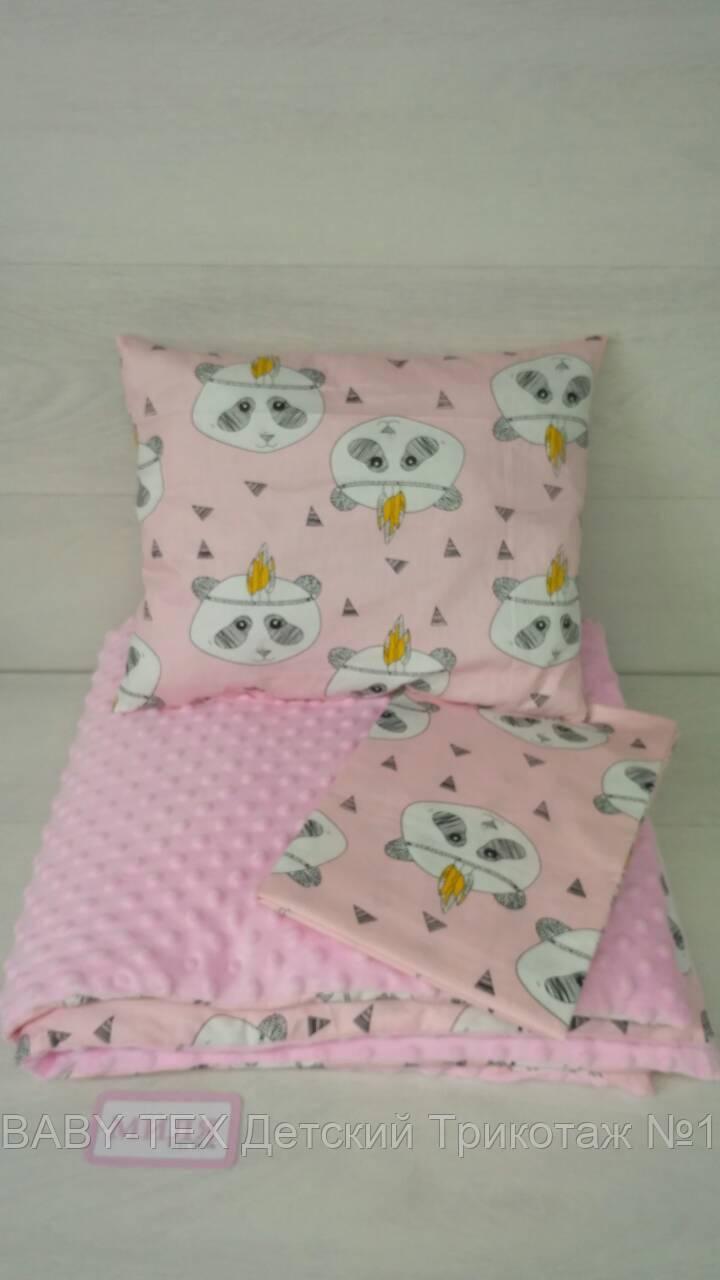 Комплект в коляску ліжечко 80*90 см панди на рожевому Т. М. Миля (ДРОПШИППИНГ)