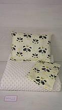 Комплект в коляску кроватку 80*90 см панды на молочном Т.М.Миля  (ДРОПШИППИНГ)