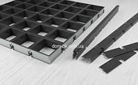 Потолок Грильято GLK -15 ячейка 100х100 мм , цвет черный RAL 9005