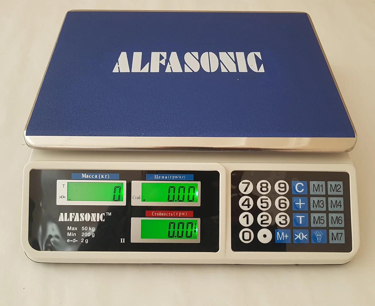 Рыночные электронные торговые весы со счетчиком цены на 50кг ALFASONIC AS-A072 . Ровная платформа