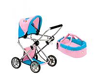 Четырехколесная коляска для кукол и пупсов со съемной люлькой (розовая) Bino