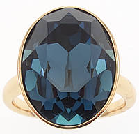 "Кольцо ХР Позолота 18K с кристаллами Swarovski ""Крупный Кристалл Montana 19х15мм"" р.17,18,18.5,19.5"