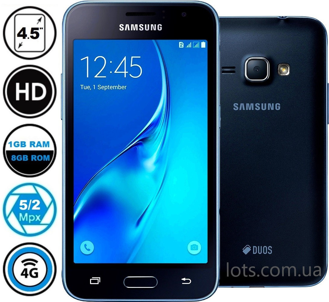 Смартфон Samsung Galaxy J1 J120 Black (Оригинал) + Подарок Защитное Стекло