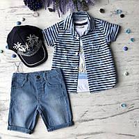 Летний джинсовый  костюм на мальчика 174. Размер  3 года,  4 года