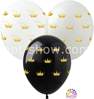 """Воздушные шары """"Короны золотые"""" 12""""(30 см) Пастель чёрный белый.В упак: 100шт ТМ Арт «SHOW»"""
