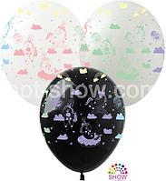 """Воздушные шары """"Единорог макарун"""" 12""""(30 см) Пастель чёрный белый.В упак: 100шт ТМ Арт «SHOW»"""