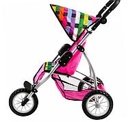Трехколесная коляска для кукол и пупсов складная с козырьком и ремнями безопасности (розовая) Bino