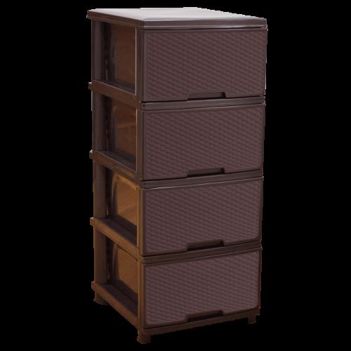 Комод пластиковый Ротанг на 4 ящика коричневый Алеана