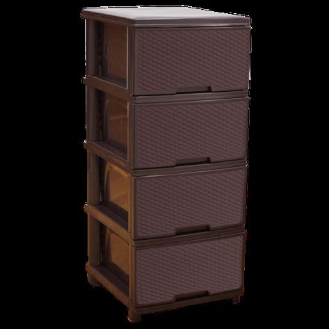 Комод пластиковый Ротанг на 4 ящика коричневый Алеана, фото 2