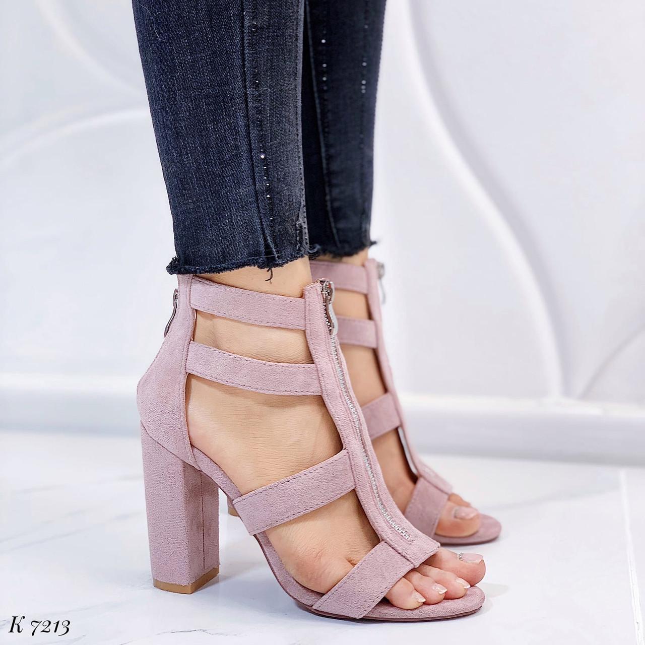 Женские босоножки розовые/ пудровые на каблуке 10 см эко-замш