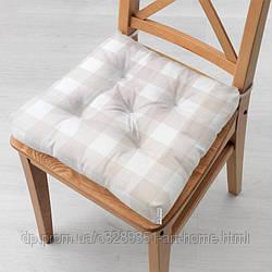 Подушка на стул 40x40 см Бежевая клетка