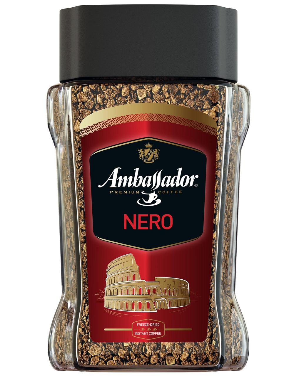 Кофе растворимый Ambassador Nero 190 грамм в стеклянной банке