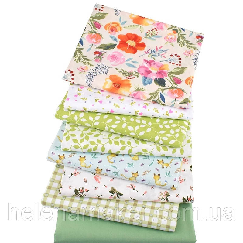 Набор ткани для рукоделия  с цветочным принтом - 8 отрезов 40*50 см