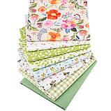 Набор ткани для рукоделия  с цветочным принтом - 8 отрезов 40*50 см, фото 2