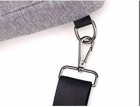 Сумка слинг через плече / нагрудная темно-серая мужская с USB-выходом 1188636882, фото 3