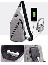 Сумка слинг через плече / нагрудная темно-серая мужская с USB-выходом 1188636882, фото 2