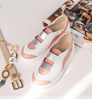 Я❤ | Размер 36-40 | Женские кожаные кеды с перфорацией | Цвет белый/розовый | Весна-лето