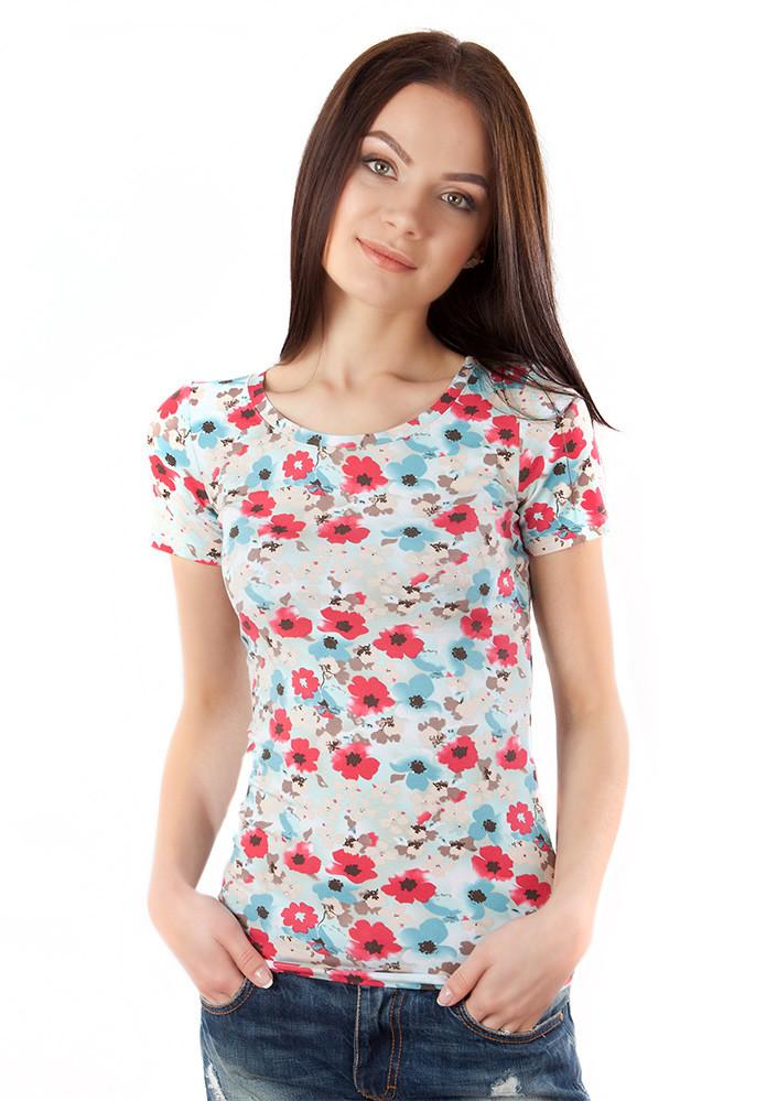 Батальная женская футболка в цветы (размеры от S до 3XL)