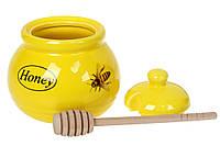 """Медовница Honey """"Пчелка"""" 450 мл керамическая, с деревянной ложкой, цвет желтый"""