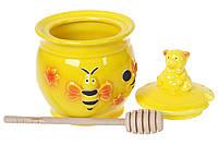 """Медовница Honey """"Пчелка"""" 500 мл керамическая, с деревянной ложкой, цвет желтый"""