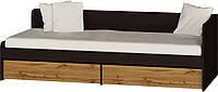 Односпальная Кровать 800 с ящиками Соната ЭВЕРЕСТ Венге темный + Аппалачи (193.2х83.6х60.5 см)