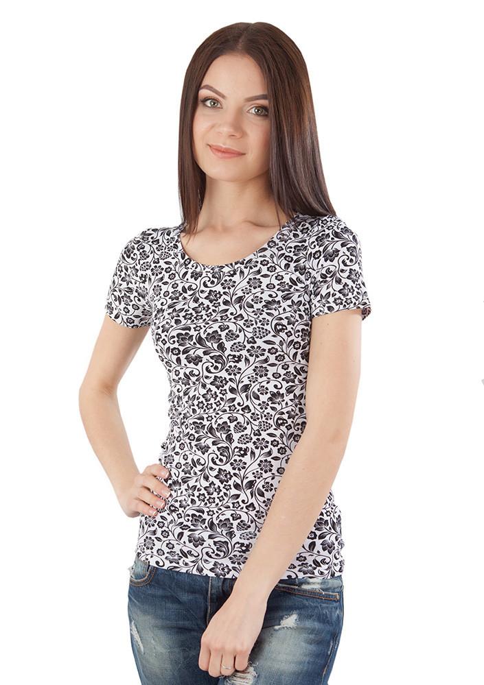 Летняя женская футболка с принтом (размеры S-L)