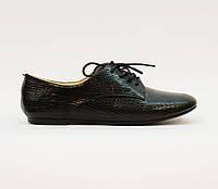 Туфли женские весна-осень на плоской подошве натуральная кожа черные 36, фото 1