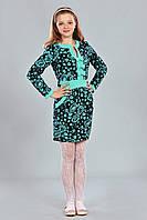 Нарядное подростковое платье с бантиками на груди